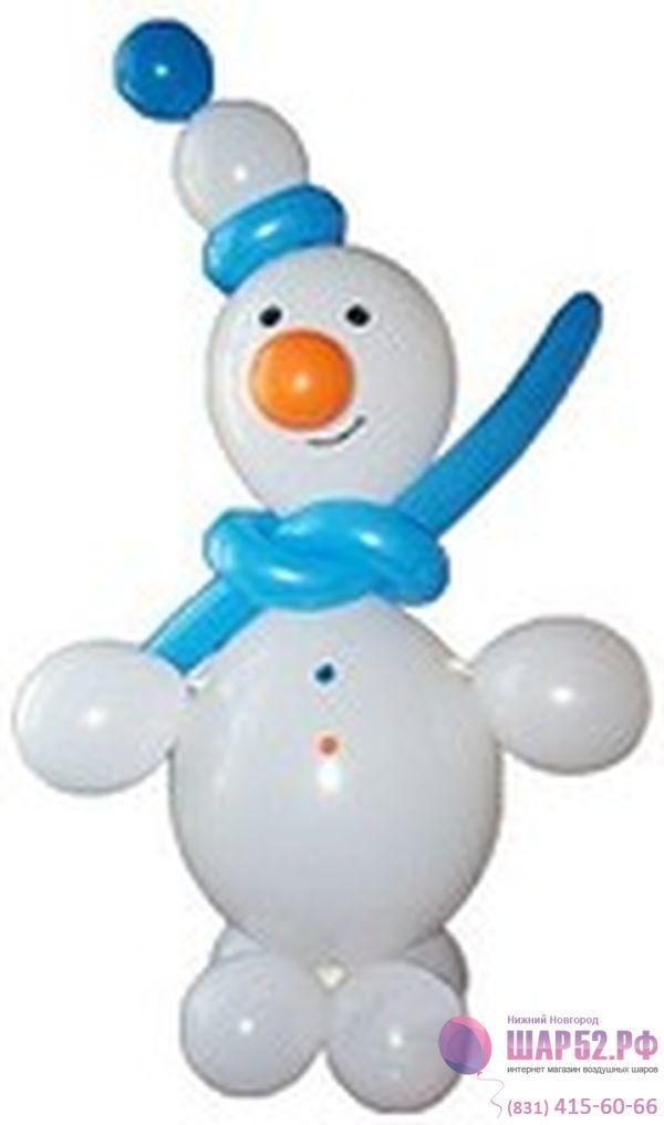 Как сделать снеговика из воздушных шаров своими руками фото